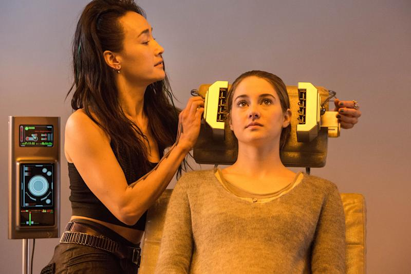 "This photo released by Summit Entertainment, LLC shows Maggie Q, left, as Tori and Shailene Woodley as Beatrice ""Tris"" Prior, in the film, ""Divergent."" The film releases Friday, March 21, 2014. (AP Photo/Summit Entertainment, Jaap Buitendijk)"