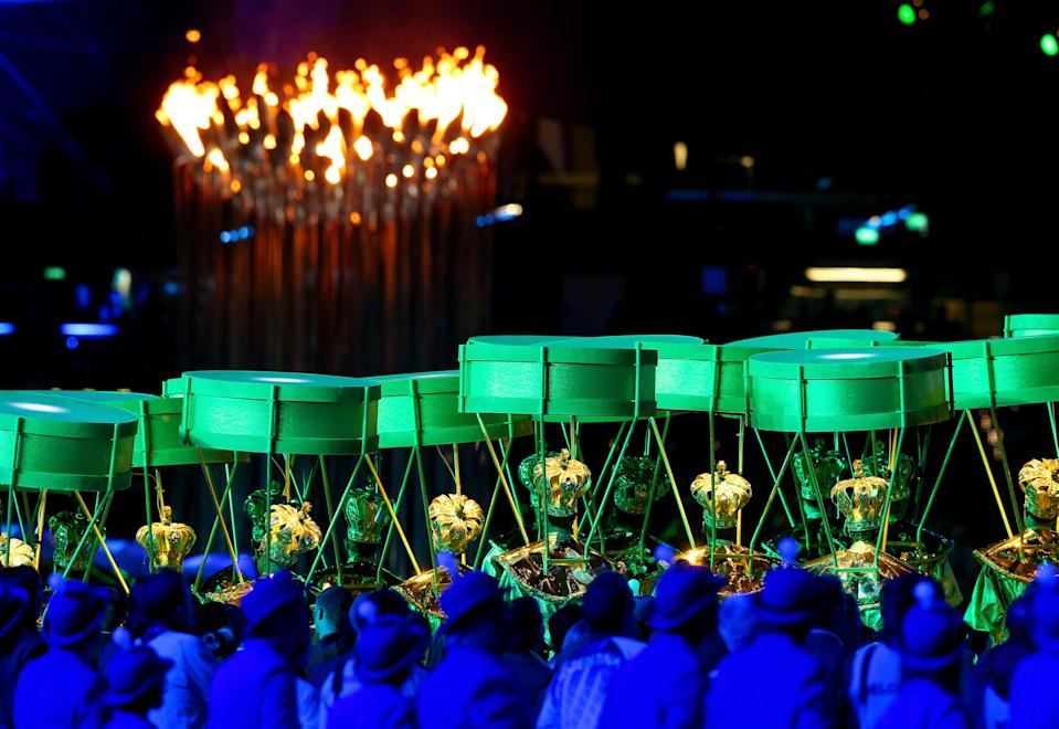 Artists perform during the Closing Ceremony on Day 16 of the London 2012 Olympic Games at Olympic Stadium on August 12, 2012 in London, England. (Photo by Scott Heavey/Getty Images)