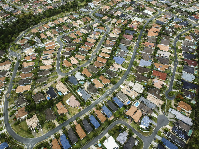 Pictured: Aerial view of Australian suburbs. Image: Getty
