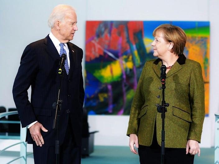 U.S. Vice President Joe Biden and German Chancellor Angela Merkel speak to the media prior to talks at the Chancellery on February 1, 2013 in Berlin, Germany.