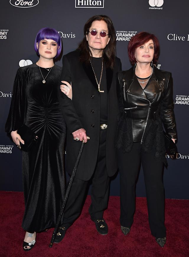 """Kelly Osbourne, Ozzy Osbourne, and Sharon Osbourne attend the Pre-GRAMMY Gala and GRAMMY Salute to Industry Icons Honoring Sean """"Diddy"""" Combs at The Beverly Hilton Hotel on January 25, 2020 in Beverly Hills, California. (Photo by Axelle/Bauer-Griffin/FilmMagic)"""
