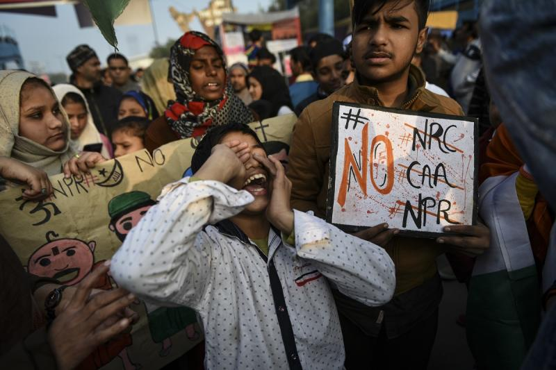 A scene from the local residents' protest against the Citizenship Amendment Act (CAA) and National Register of Citizens (NRC) in Shaheen Bagh area in New Delhi, India, January 19, 2020. (Photo by Indraneel Chowdhury/Getty Images)