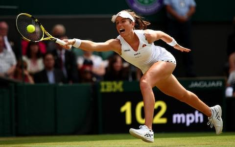 Johanna Konta stretches to play a forehand in her Ladies' Singles fourth round match against Petra Kvitova - Credit: GETTY IMAGES