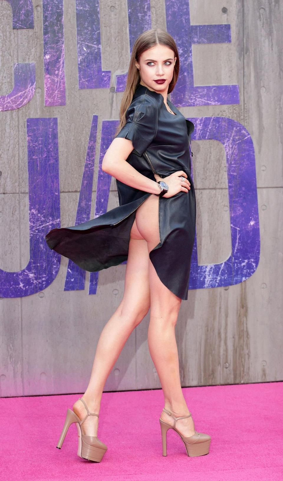 <p>The Russian model flashed her behind while posing for photographers.</p>