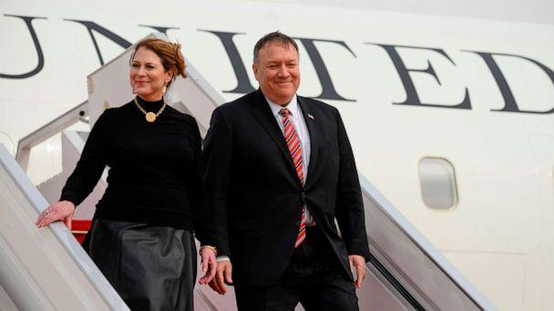 PHOTO: Secretary of State Mike Pompeo and his wife Susan Pompeo arrive at Blaise Diagne International Airport in Senegal on Feb. 15, 2020. (Andrew Caballero-Reynolds/AFP via Getty Images, FILE)