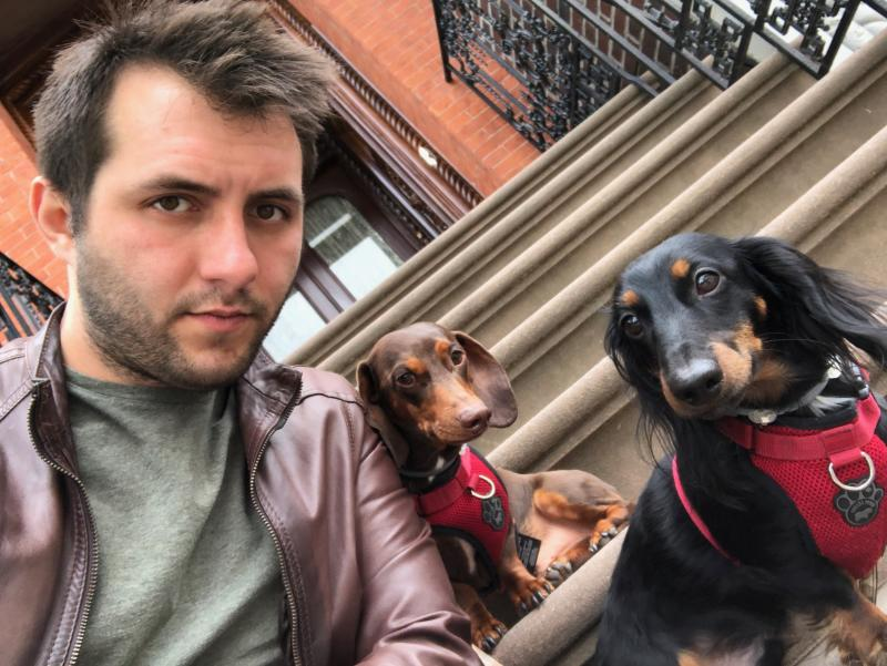 Mike Chiaravalloti, a self-employed dog walker in New York City, had 14 gig workers on staff. The demand had been at its peak prior to the coronavirus pandemic, with 65 dogs to walk per week. Now, his company Sticks and Bones NYC is down to zero walks and has pivoted to concierge services (Photo: Mike Chiaravalloti)
