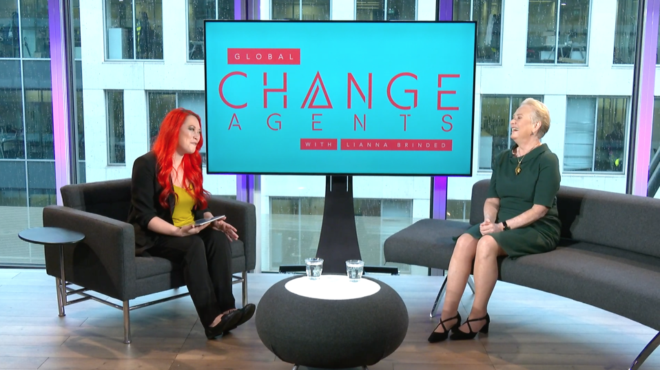 Mastercard Vice Chairman Ann Cairns (right) on the 'Global Change Agents with Lianna Brinded' show. Photo: Yahoo Finance UK