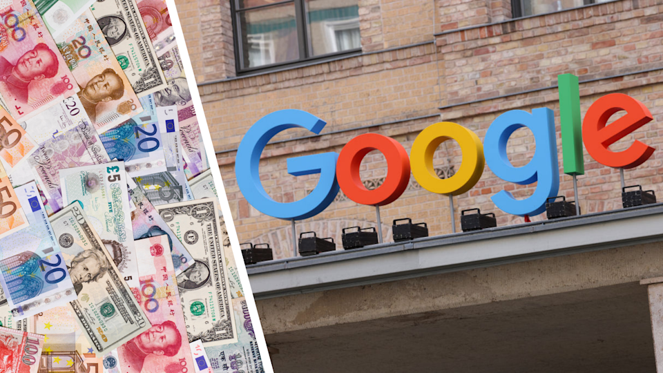 International currency notes, Google sign at office.