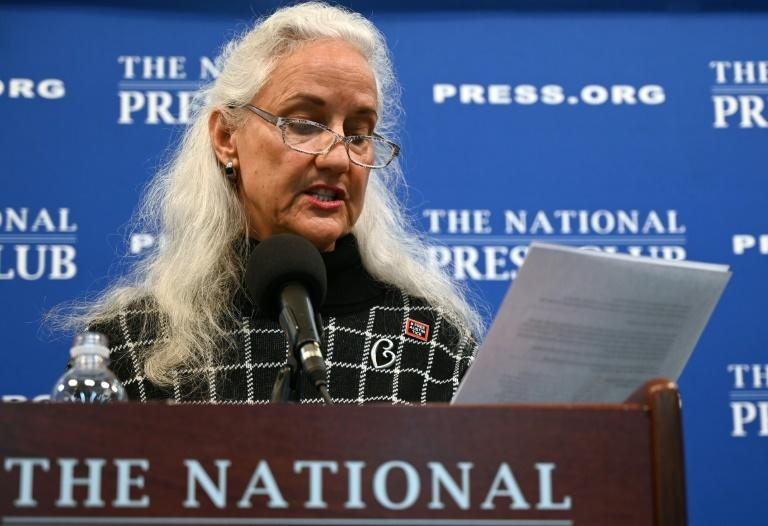 Debra Tice, the mother of missing journalist Austin Tice, addresses a press conference January 27, 2020 at the National Press Club