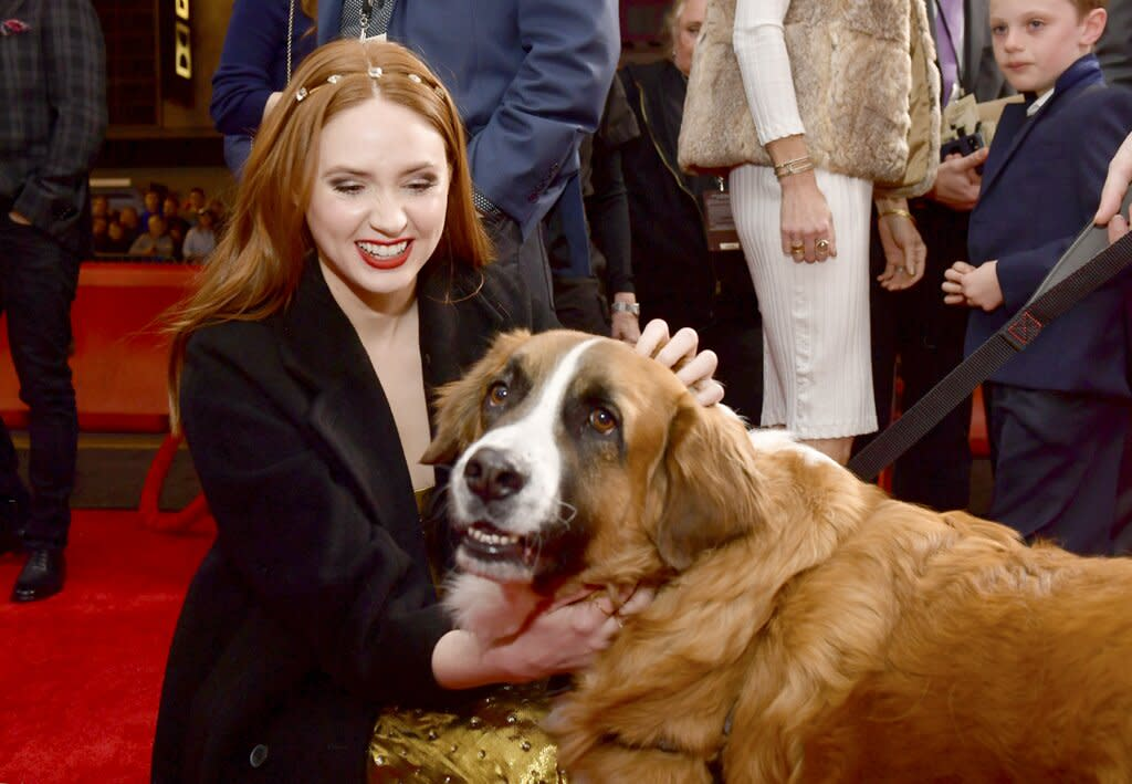 """Though a computer-animated dog appears alongside Harrison Ford in <em>The Call of the Wild</em> as Buck, a real live dog showed up to the premiere — and <a href=""""https://ew.com/tag/karen-gillan/"""">Karen Gillan</a> couldn't resist showing the adorable pooch some love."""
