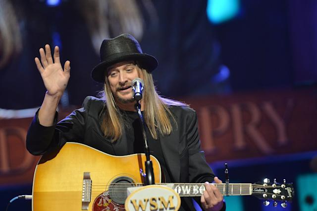 NASHVILLE, TN - MAY 02: (EXCLUSIVE COVERAGE) Country musician Kid Rock performs at the funeral service for George Jones at The Grand Ole Opry on May 2, 2013 in Nashville, Tennessee. Jones passed away on April 26, 2013 at the age of 81. (Photo by Rick Diamond/Getty Images for GJ Memorial)