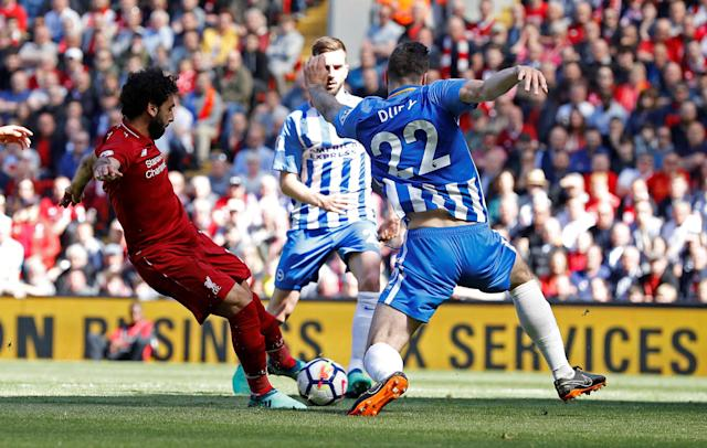 Soccer Football – Premier League – Liverpool vs Brighton & Hove Albion – Anfield, Liverpool, Britain – May 13, 2018 Liverpool's Mohamed Salah scores their first goal. (REUTERS/Phil Noble)
