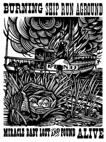 This woodcut print depicts the tale of the miracle baby, saved from the steamboat William Penn after it burned in 1834.