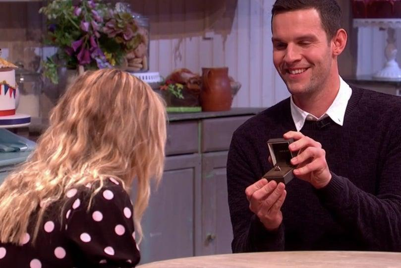 <p>Dave Friday proposes to his girlfriend on Great British Bake Off spin off An Extra Slice</p> (Channel 4/The Great British Bake Of: An Extra slice)