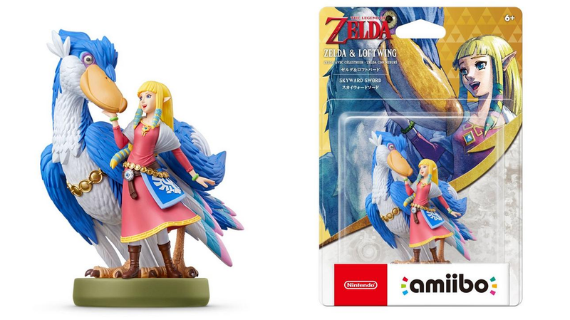 The Zelda & Loftwing amiibo standing upright and in its box.