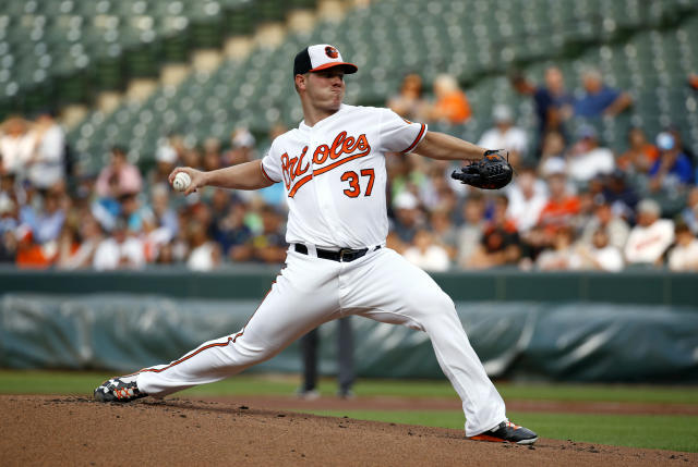 Baltimore Orioles starting pitcher Dylan Bundy throws to a New York Yankees batter during the first inning of a baseball game Wednesday, July 11, 2018, in Baltimore. (AP Photo/Patrick Semansky)