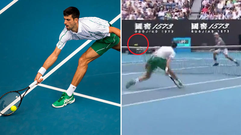 Novak Djokovic digs the ball out and hits a winner at the Australian Open.