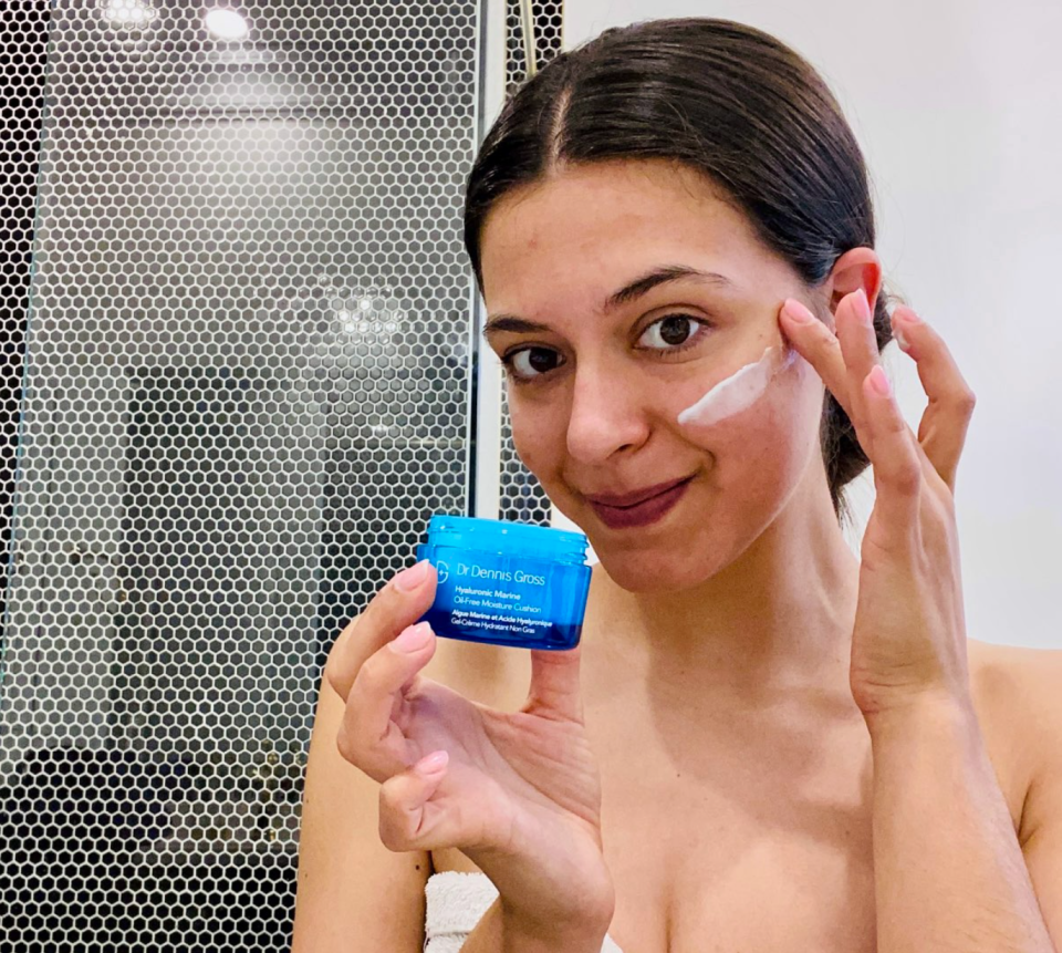 """""""The Oil-Free Moisture Cushion is seriously refreshing. While I massage it into my skin, I feel the texture break into a cool, water-like gel,"""" Anastasia Barbuzzi says."""