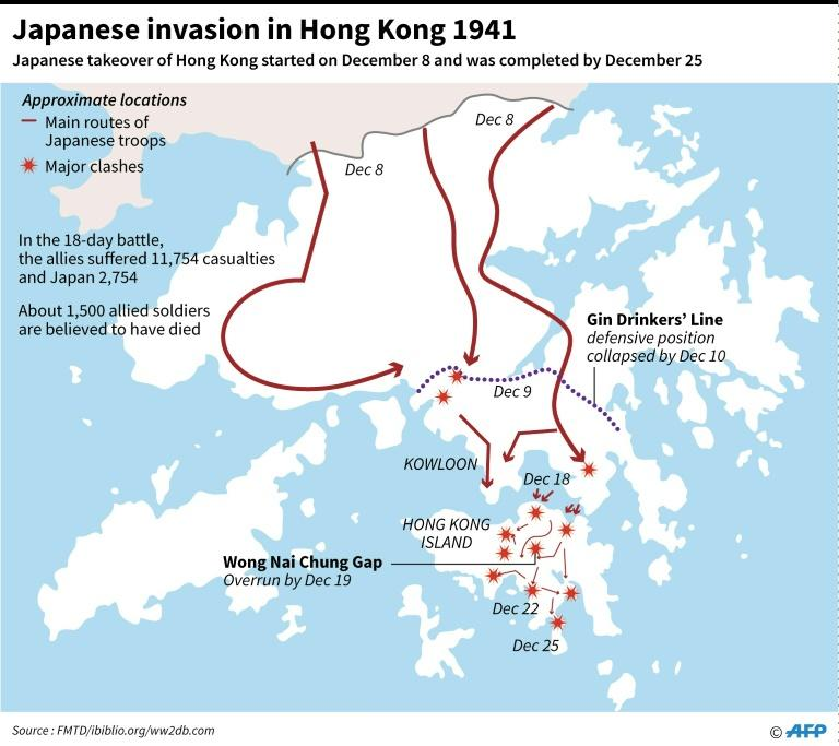 Graphic on Japan's invasion of Hong Kong in December 1941