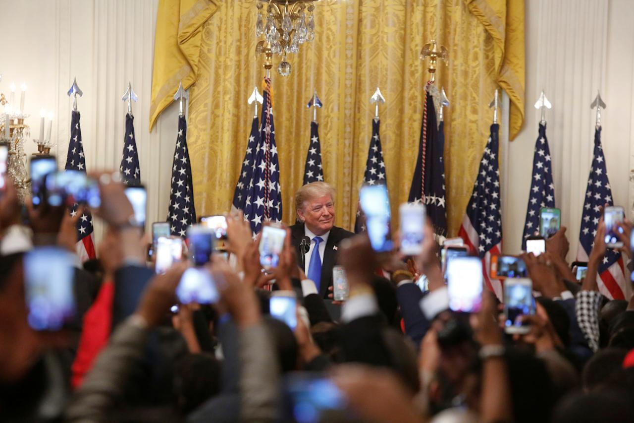 """<p>President Donald Trump arrives to delivers remark at the """"2018 Young Black Leadership Summit,"""" in the East Room of the White House in Washington, Oct. 26, 2018. (Photo: Cathal McNaughton/Reuters) </p>"""