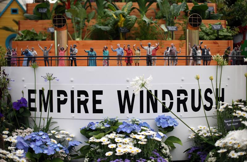 A replica of the deck of the Empire Windrush created as part of the Windrush Garden at Chelsea Flower Show in 2018. (PA)