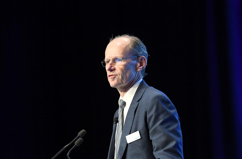 BRISBANE, AUSTRALIA - DECEMBER 17: The CEO of ANZ Shayne Elliott speaks at the ANZ annual general meeting at the Brisbane Convention & Exhibition Centre on December 17, 2019 in Brisbane, Australia. ANZ is looking to avoid a second strike over executive pay packets following aggressive changes to renumeration plans including drastic reductions in executive bonuses as it confronts retail shareholders today. (Photo by Bradley Kanaris/Getty Images)