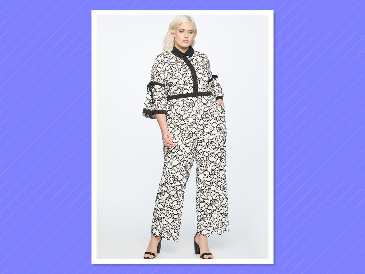 "<p>Eloquii Flounce Sleeve Lace Jumpsuit, $160, <a rel=""nofollow"" href=""http://www.eloquii.com/flounce-sleeve-lace-jumpsuit/1246272.html?cgid=jumpsuits&dwvar_1246272_colorCode=1&start=2"">eloquii.com</a><br /><br /></p>"