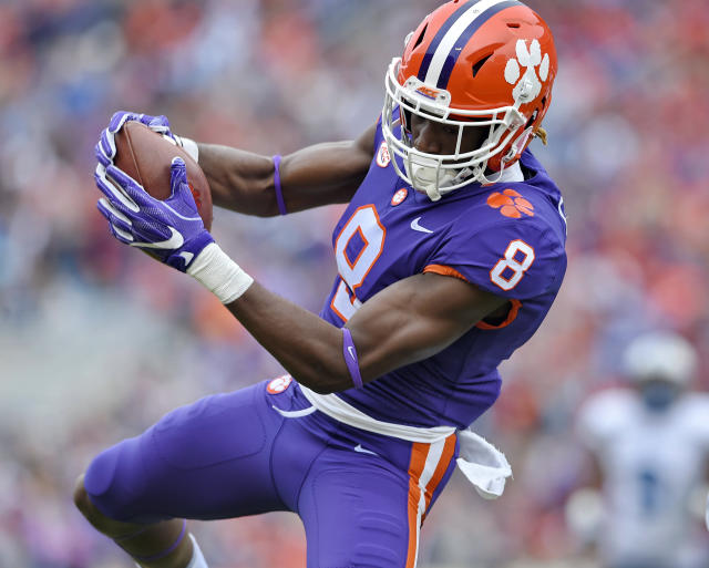 Clemson's Deon Cain pulls in a reception for a touchdown during the first half of an NCAA college football game against Citadel, Saturday, Nov. 18, 2017, in Clemson, S.C. (AP Photo/Richard Shiro)