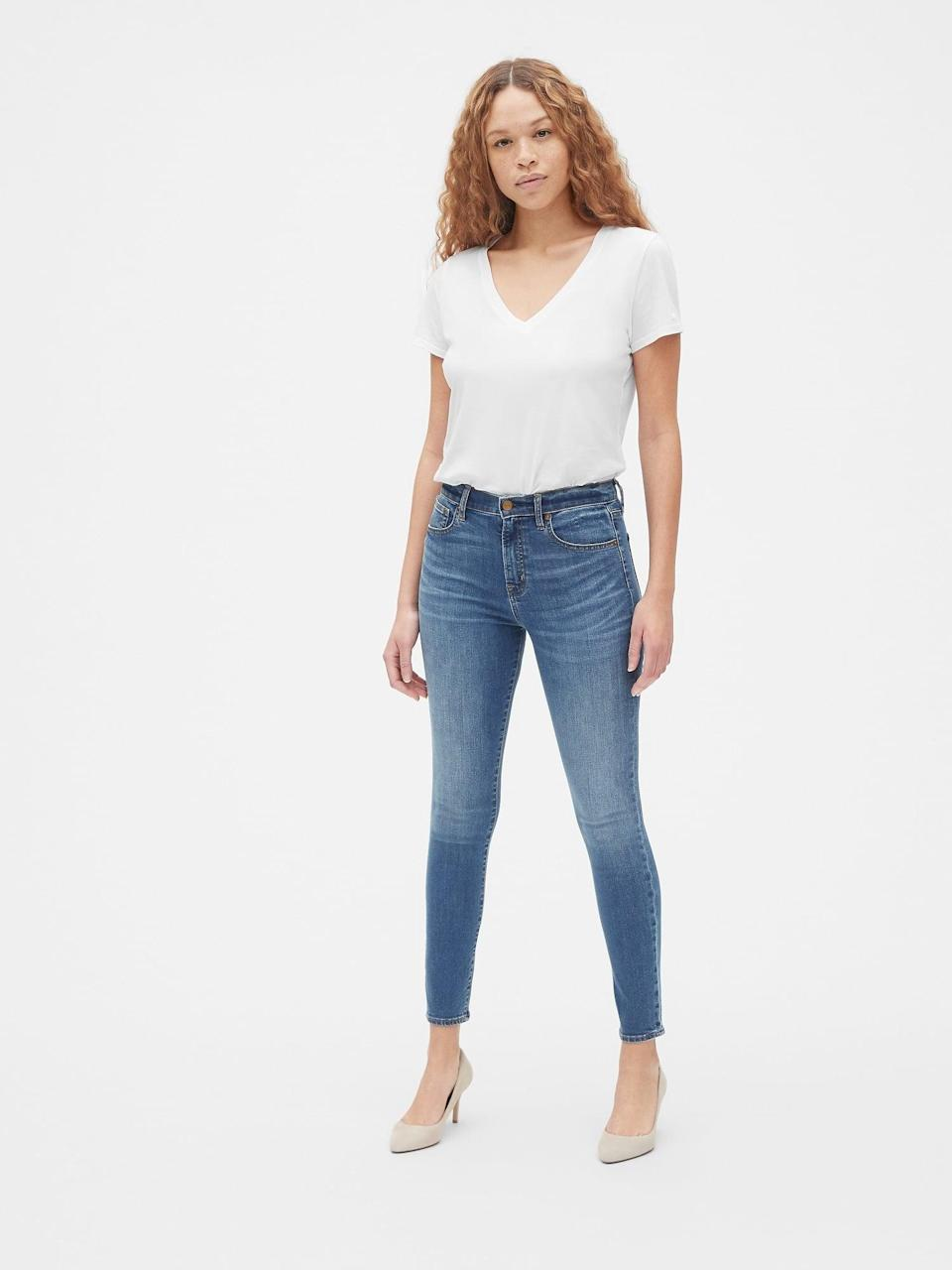 <p>These <span>Gap High Rise True Skinny Jeans With Secret Smoothing Pockets</span> ($80) are so flattering and perfect for any occasion.</p>