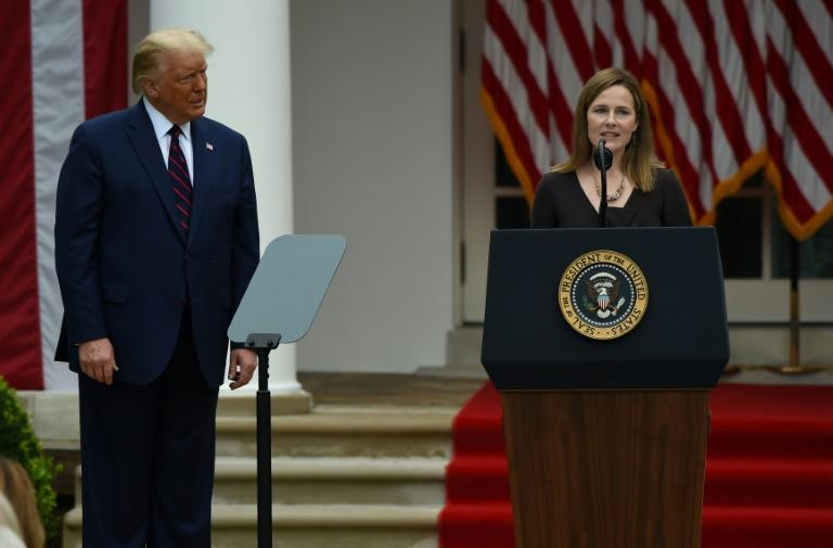 Judge Amy Coney Barrett at the White House for her nomination to the Supreme Court by President Donald Trumpon September 26 2020