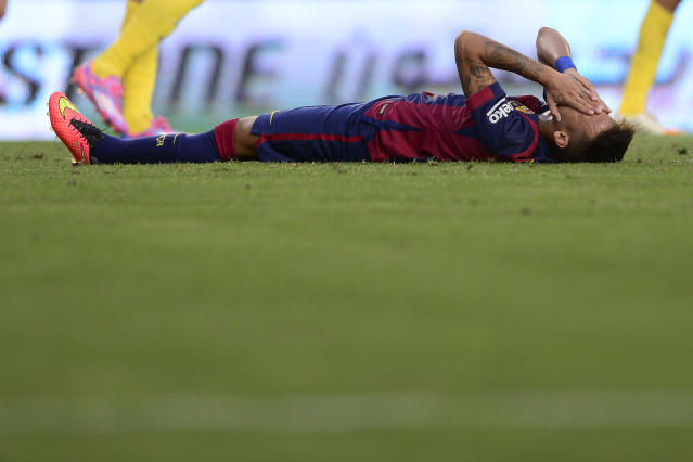 Barcelona's Brazilian star Neymar, who has waded into the racism debate, pictured in Villareal in Spain, August 2014 (AFP Photo/Josep Lago)