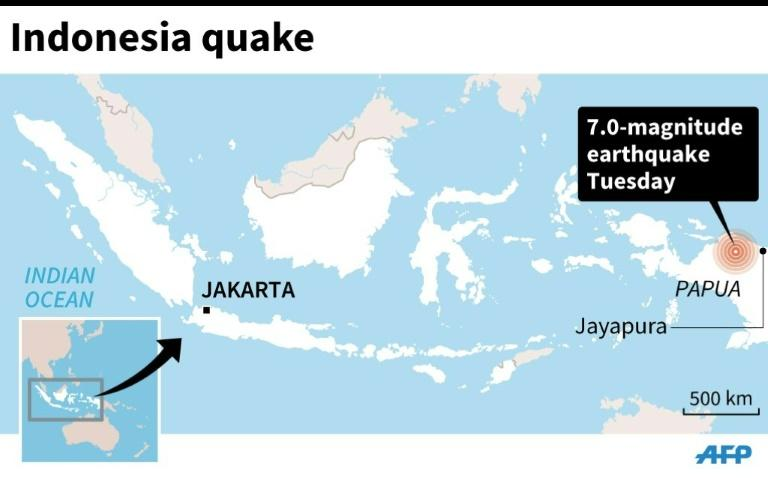 Map showing the epicenter of a 7.0-magnitude quake on Tuesday morning in Indonesia