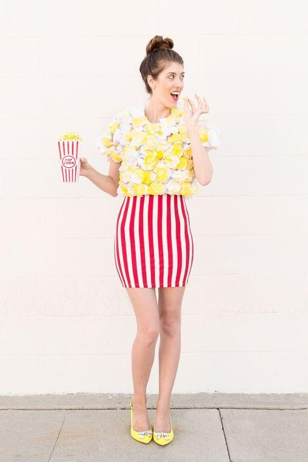 """<p>Now here's a costume that really pops (sorry, had to). If you can't find a red and white striped skirt, you can definitely hack one with some white tape or fabric paint. </p><p>Get the instructions <a href=""""http://www.studiodiy.com/2015/09/27/diy-popcorn-costume/"""" rel=""""nofollow noopener"""" target=""""_blank"""" data-ylk=""""slk:here"""" class=""""link rapid-noclick-resp"""">here</a>. </p>"""