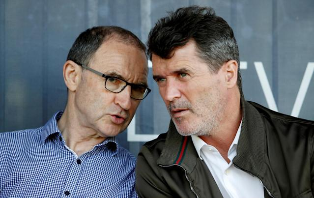 Soccer Football - UEFA European Under-17 Championship - Group C - Republic of Ireland v Denmark - St. George's Park Stadium, Burton-upon-Trent, Britain - May 8, 2018 Republic of Ireland manager Martin O'Neill and assistant manager Roy Keane in the stands Action Images via Reuters/Carl Recine