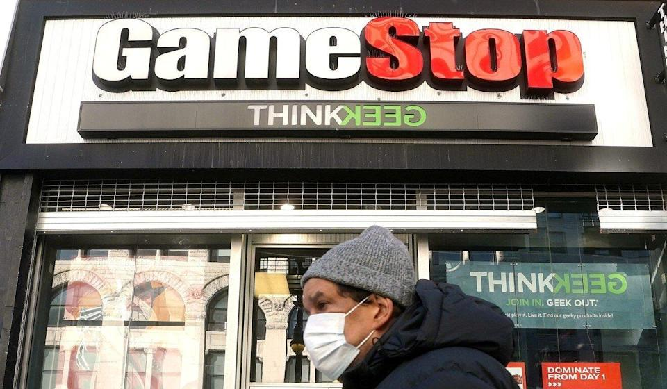 A person walks past a GameStop in the Manhattan borough of New York City, New York, on January 29, 2021. Photo: Reuters