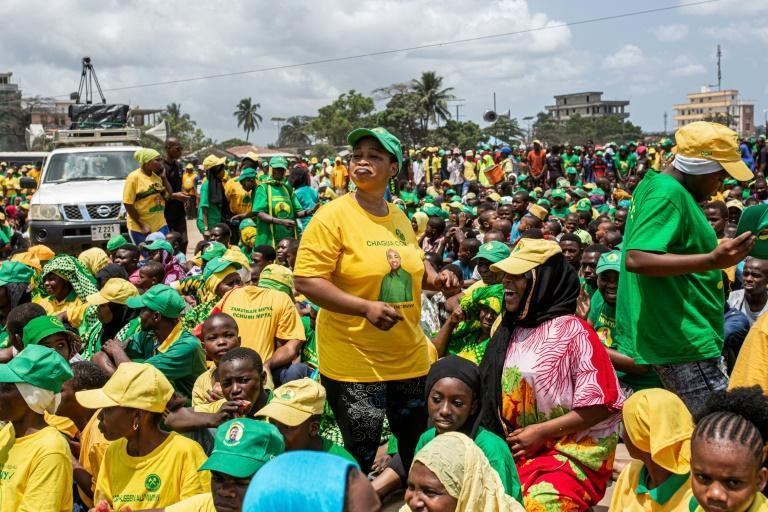 Supporters of the ruling Chama Cha Mapinduzi (CCM) party hold their last campaign rally ahead of the election. The party has been in power since 1961