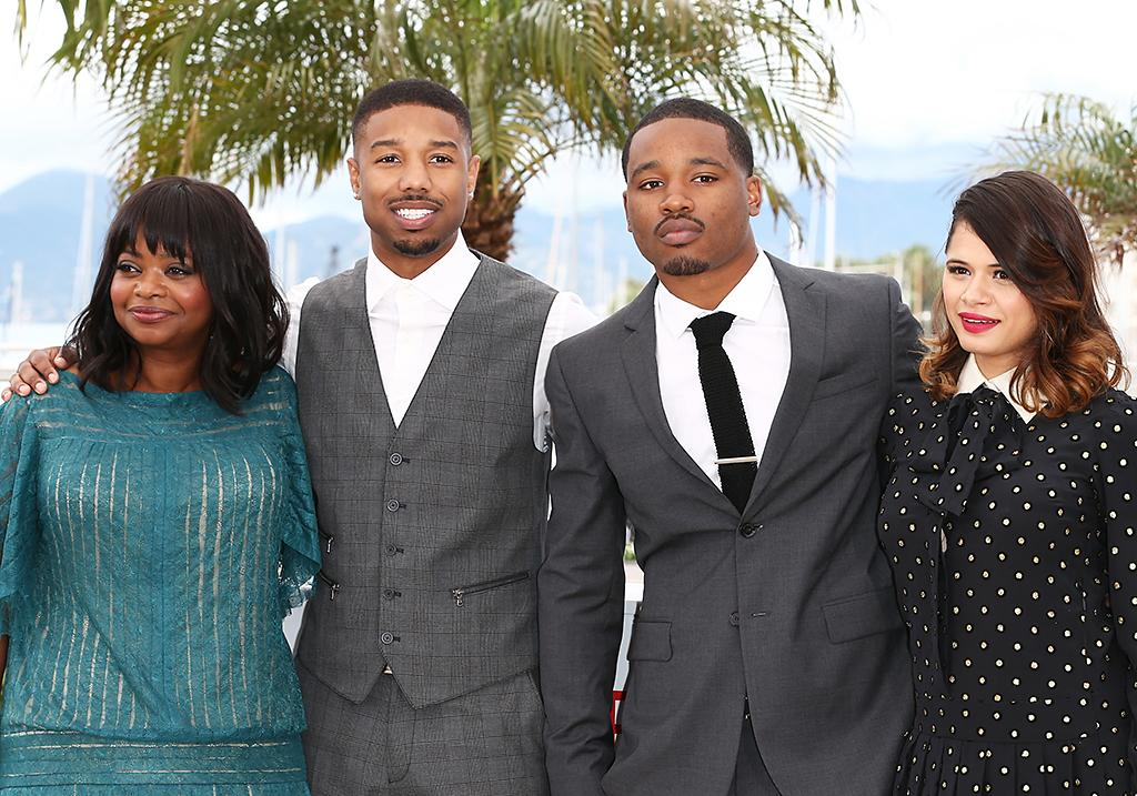 CANNES, FRANCE - MAY 16:  (L-R) Actress Octavia Spencer, actor Michael B. Jordan, Director Ryan Coogler and actress Melonie Diaz attend the 'Fruitvale Station' Photocall during the 66th Annual Cannes Film Festival at the Palais des Festivals on May 16, 2013 in Cannes, France.  (Photo by Andreas Rentz/Getty Images)