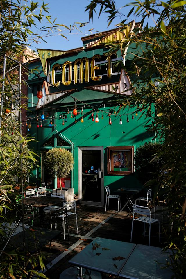 A general view of the exterior of the Comet Ping Pong pizza restaurant in Washington, U.S. December 5, 2016. The pizzeria vowed on Monday to stay open despite a shooting incident sparked by a fake news report that it was fronting a child sex ring run by Democratic presidential candidate Hillary Clinton. REUTERS/Jonathan Ernst