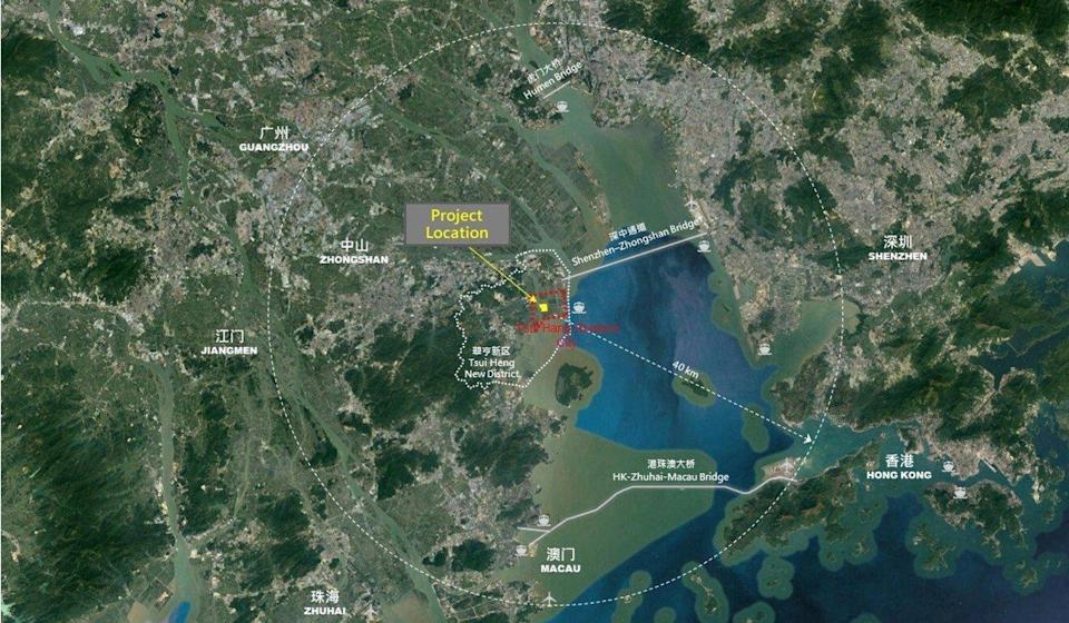 The Zhongshan project's location. Photo: Handout