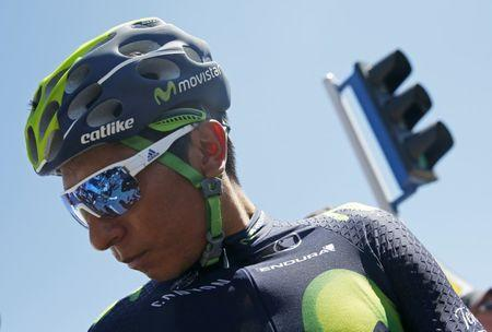 Cycling - Tour de France cycling race - The 160-km (99,4 miles) Stage 15 from Bourg-en-Bresse to Culoz, France - 17/07/2016 - Movistar Team rider Nairo Quintana of Colombia prepares to start before the stage.  REUTERS/Juan Medina