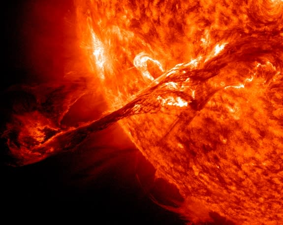 NASA's Solar Dynamics Observatory spacecraft captured this massive coronal mass ejection (CME) erupting from the sun on Aug. 31, 2012.