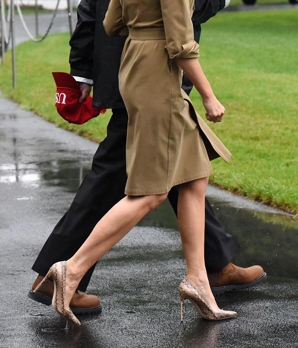 <p>And then there were the heels...again. Snakeskin Manolo Blahnik stilettos—appropriate shoes to wear to the aftermath of a natural disaster. </p>