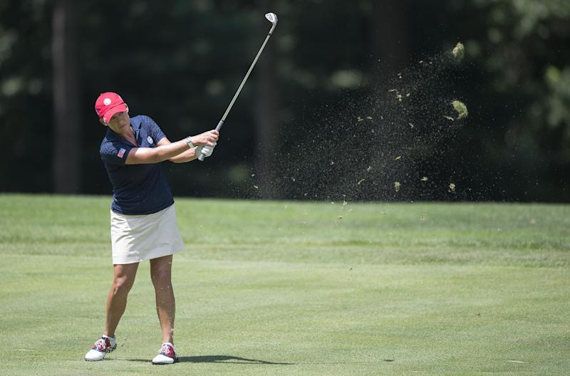 US golfer Cristie Kerr during the third round of the LGPA International Crown in Owings Mills, Maryland on July 26, 2014 (AFP Photo/Jim Watson)