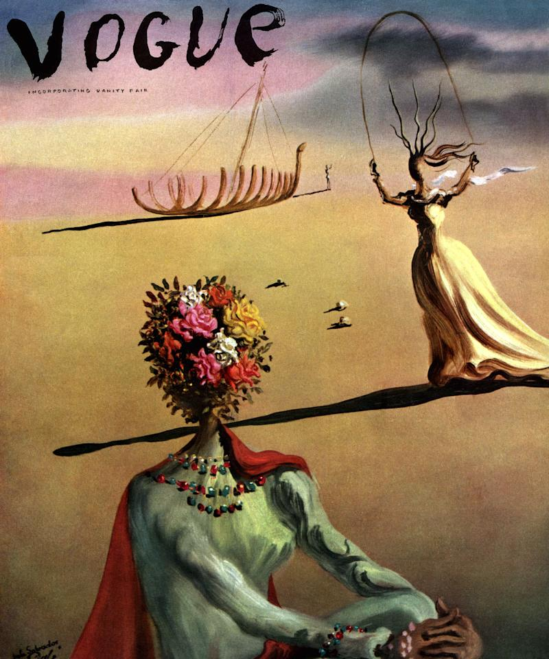 """""""Symbols by Salvador Dalí, the fantastic surrealist: flowers for the beauty of women, a skipping figure for the remembrance of her childhood, a skeleton ship for the sadness of things past."""""""