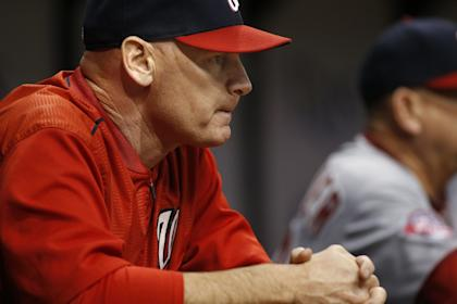 Matt Williams looks on from the dugout during a Nationals game. (Getty)