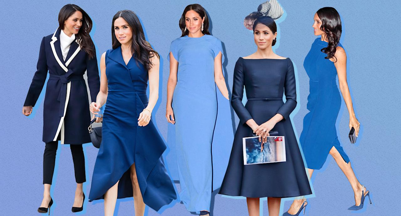 <p>The Duchess of Sussex cannot stop wearing this one flattering shade. (Photo: Getty Images; Yahoo Lifestyle) </p>