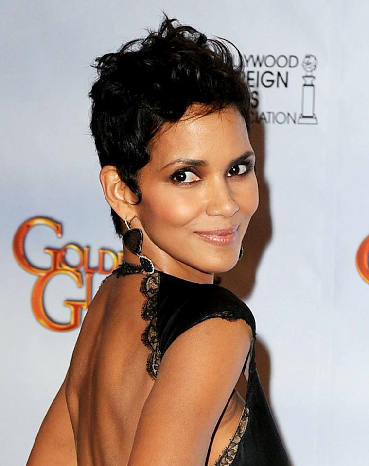 """Halle Berry, 43, is a knockout for many reasons -- her sculpted cheekbones, her dark eyes, and, of course, her unblemished, caramel complexion. Steve Granitz/<a href=""""http://www.wireimage.com"""" target=""""new"""">WireImage.com</a> - January 17, 2010"""