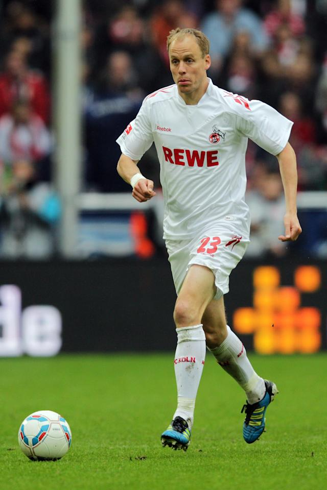COLOGNE, GERMANY - MAY 05: Kevin McKenna of Koeln in action during the Bundesliga match between 1. FC Koeln and FC Bayern Muenchen at RheinEnergieStadion on May 5, 2012 in Cologne, Germany. (Photo by Dean Mouhtaropoulos/Bongarts/Getty Images)