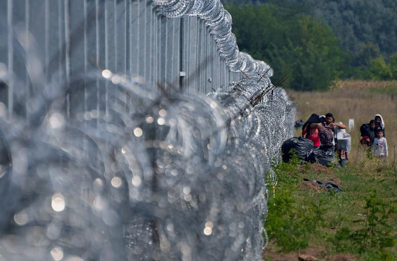 Migrants walk along the 4 meter tall border fence on the Serbian side looking for a place to cross into Hungary near the village of Asotthalom on September 1, 2015 (AFP Photo/Csaba Segesvari)