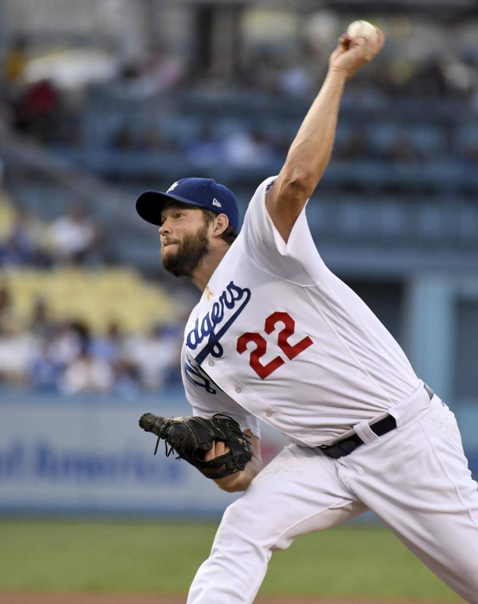 Los Angeles Dodgers pitcher Clayton Kershaw throws to the plate during the first inning of a baseball game against the Arizona Diamondbacks, Saturday, Sept. 1, 2018, in Los Angeles. (AP Photo/Michael Owen Baker)